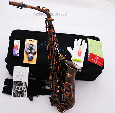 Professional TaiShan Red Antique Alto Saxophone High F# Eb Sax Engraving Bell