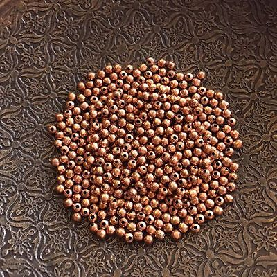 Copper Metal 2mm Round Spacer Beads 10g Packet