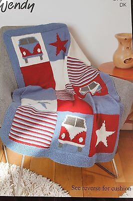 Wendy Double Knitting Camper Van  Throw and cushion knitting pattern 5739