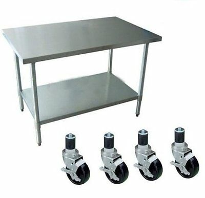 """24"""" x 24"""" Stainless Steel Prep Table Work Surface Kitchen Restaurant With 4 Cast"""