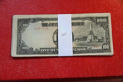 Philippines Lot of (10) 100 Pesos 1944 WWII Japanese Occupation  P.112 RMC 158