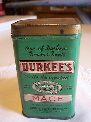 Vintage Durkee's 4 Ounce Spice Tin, Mace, Contains Spice