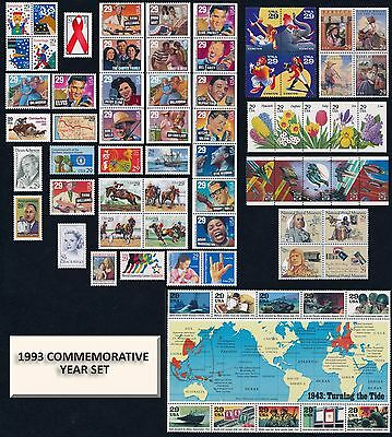 USPS 1993 Year Set Singles Panes Strips & Sheets = 71 Mint NH VF Stamps