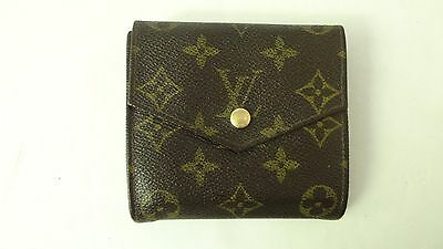 Authentic LOUIS VUITTON Small clutch wallet bifold w/coin Clean good bag