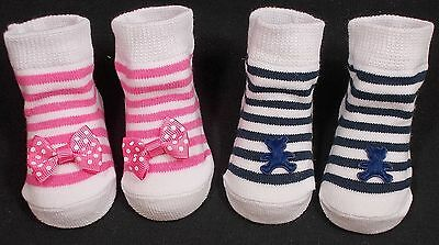 Baby SOCKS girl boy bow teddy navy blue cerise pink 0-3 months
