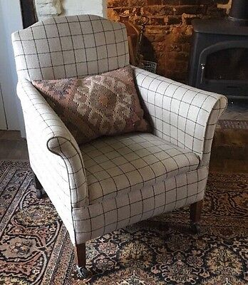 Antique Armchair Re-upholstered Edwardian Chair In Designer Linen Fabric