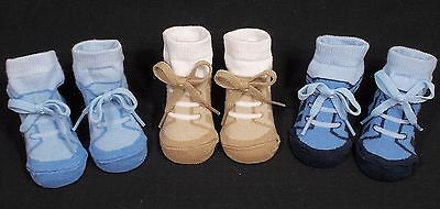 Baby socks boy trainer sneaker style laces blue navy beige 0-3 months