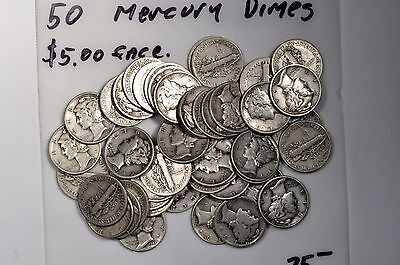 $5 roll of Mercury dimes. 50 coins. Average circulation