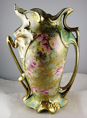 Antique Porcelain Royal Vienna Red Mark Floral Vase - Pink Roses, Heavy Gold