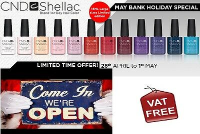 Shellac  CND  Nail Polish Colours - 15ml  DOUBLE SIZE - NEW IN !