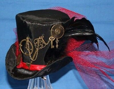 Mini Top Hat Cosplay Victorian Steampunk Clock & Key in Black & Red