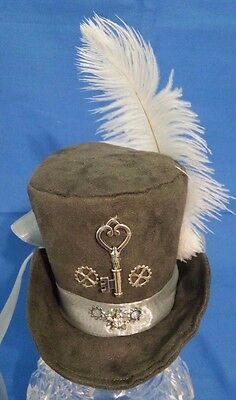 Mini Top Hat Cosplay Victorian Steampunk Silver Key & Gears