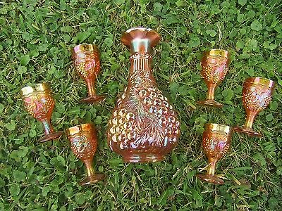 "Imperial Grapes Marigold Carnival Glass 12"" Decanter & 6 Goblets~EXCELLENT!"