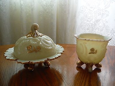 Northwood Louis XV Custard Glass Butter Dish and Spooner
