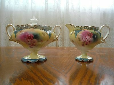 RS Prussia Pink Flowers & Gold Trim Footed Green/Yellow Creamer & Covered Sugar