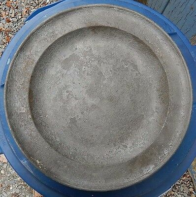 """Large 13"""" Antique Pewter Plate Charger Marked LONDON"""