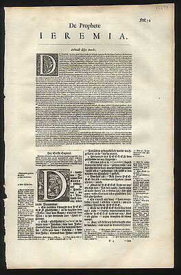 Dutch Bible Leaf 1650  Book of Jeremiah Chap 1&2 1650 Great Historiated Letter