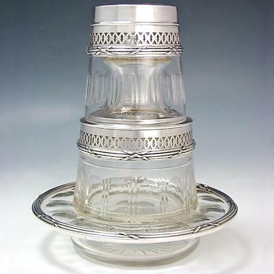 Antique French Sterling Silver Tumble Up Decanter Cut Crystal Bedside Carafe Set