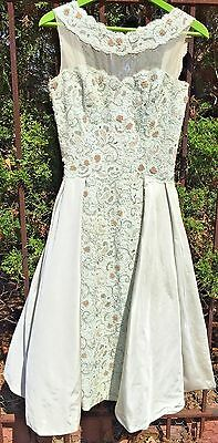 Vintage 1950s Mint Light Green Silk Full Skirt Beaded Lace Prom Ball Gown Dress