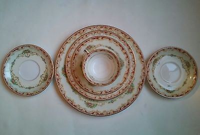 Vintage NORITAKE Cups Plates Saucers Lot of 6 Occupied Japan Red Floral