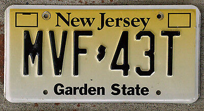 Yellow and White New Jersey License Plate