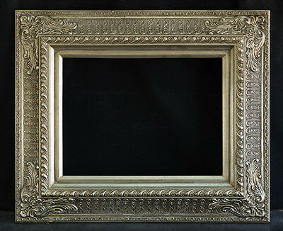 """Antique Reproduction Ornate Silver Frame 12"""" x 16"""", 4"""" Wide, 2"""" Thick"""