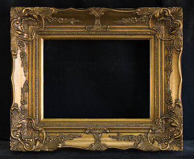 """Antique Reproduction Ornate Gold Frame 12"""" x 16"""", 4"""" Wide, 2"""" Thick"""