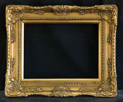 """Antique Reproduction Ornate Gold Frame 12"""" x 16"""", 3"""" Wide, 2"""" Thick"""