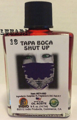Shut Your Mouth, Shut Up, Tapa Boca, Oil, Indio Products, 1/2 oz, Lunari13