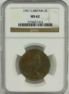 Great Britain 1957 2 Shillings Ngc Ms62