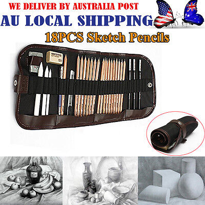 18 in 1 Sketch Pencils + Charcoal Pencil Eraser Set Craft for Drawing Sketching