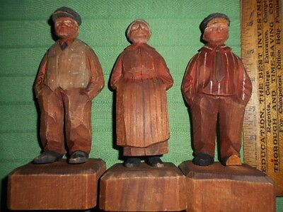 3 Vintage Hand Carved Wooden Figures/Folk Art Americana 2 men 1 Woman Canada