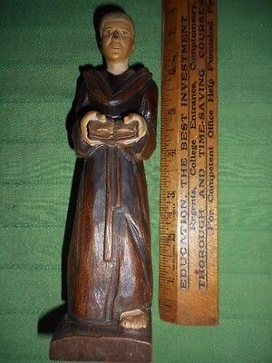 Vintage Hand Carved Monk Holding Bible ~ Switzerland Black Forest