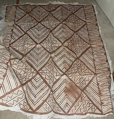 "Antique Hand-Painted Tapa Bark Cloth, Sout Pacific Polynesian  50"" x 69"""
