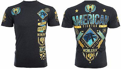 AMERICAN FIGHTER Mens T-Shirt LANDER Athletic BLACK YELLOW Biker Gym MMA UFC $40
