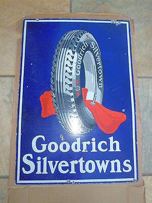 Vintage BF Goodrich Silvertowns Tires Porcelain Sign Double Sided