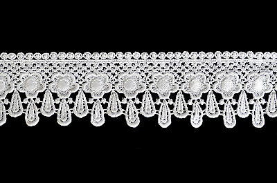 """Unotrim 3/"""" White Ivory Venise Victorian Giupure Lace Trims sold By Yardage"""