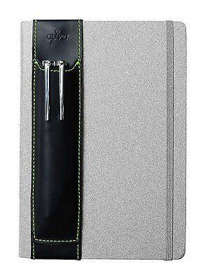 Double-Pen Quiver for Moleskine Large A5 Size Notebooks, Black with Green