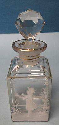Antique Mary Gregory Cut Glass Crystal Perfume Bottle w/ Orginal Stopper