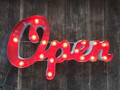 Medium Retro Metal Marquee Sign - OPEN- Smokey Red - Lit Sign