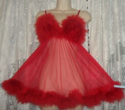 VTG SHEER RED Babydoll FREDERICK'S Of HOLLYWOOD Nightgown NIGHTIE Marabou L+