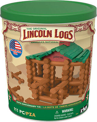 LINCOLN LOGS 100th Anniversary Tin 111 All-Wood Pieces KNEX