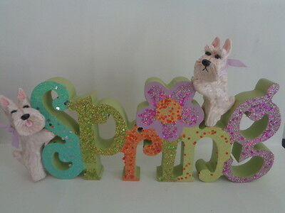 """Hand Sculpted**2 Wheaten Scottish Terriers Pair Celebrating """"spring"""" Wood Decor*"""