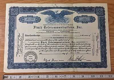 Finch Telecommunications Inc Stock Certificate 1942 100 Shares Delaware
