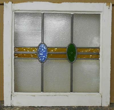 """OLD ENGLISH LEADED STAINED GLASS WINDOW Abstract Circles & Stripe 19.25""""x18.75"""""""