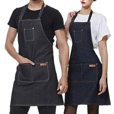 Latest Working Apron Unisex Wearable Denim Apron Cafe Barista Food Shop Workwear
