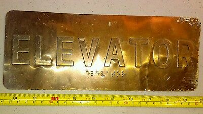 Vintage ELEVATOR Sign With BRAILLE Thin Metal Brass Finish Industrial Rare