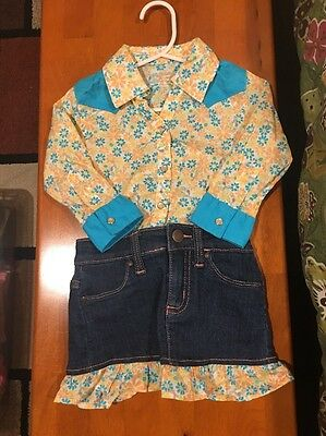 Baby Girl's Wrangler Western Cowgirl Outfit - 3 Piece Set - Size 12M