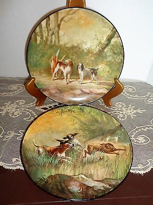 Pair ~ Antique Pottery Porcelain Hand Painted Plates Dogs Julius Brauer Studio?