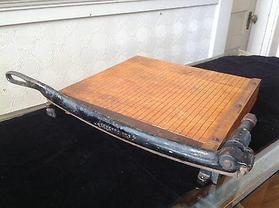 "Vintage INGENTO No. 5  Iron & Wood Paper Cutter 16""x 16"" Solid Maple- Guillotine"